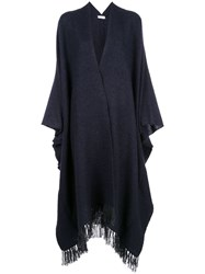 Brunello Cucinelli Fringed Knitted Cape Blue