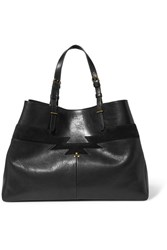 Jerome Dreyfuss Maurice Suede Trimmed Leather Tote Black