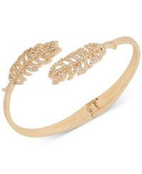 Lonna And Lilly Gold Tone Pave Feather Hinge Bangle Bracelet