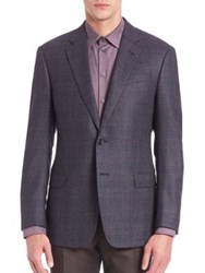 Armani Collezioni Checkered Wool Jacket Navy