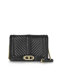 Rebecca Minkoff Black Quilted Leather Small Love Crossbody Bag