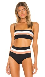 L Space Rebel Stripe Bikini Top In Black. Black Cream And Chestnut