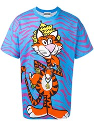 Moschino Crowned Tiger T Shirt Pink Purple