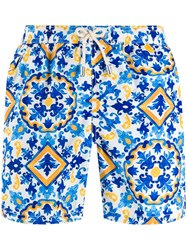 Mc2 Saint Barth Tile Print Swim Shorts Blue