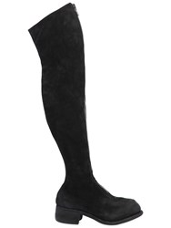 Guidi 1896 Pl4 Reverse Leather Over The Knee Boots Black