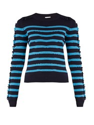 Barrie Breton Striped Cashmere Sweater Navy Stripe