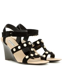 Balenciaga Embellished Suede Wedge Sandals Black