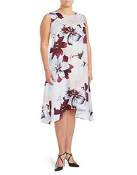 Lord And Taylor Plus Sleeveless Floral Print Asymmetric Dress Mulberry