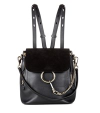 Chloe Faye Leather And Suede Backpack Black