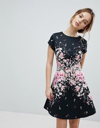 Lipsy Textured Midi Skater Dress With Floral Placement Trim Multi