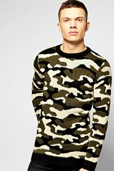 Boohoo Neck Knitted Camo Jumper Camo