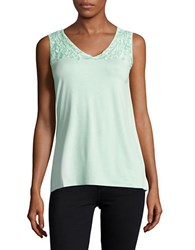 Context Lace Trimmed Tank Top Mint