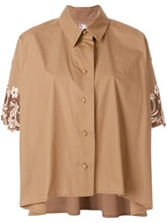 Antonio Marras Lace Embroidered Sleeve Shirt Brown