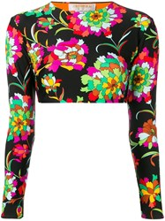 La Doublej Floral Print Surf Top Black