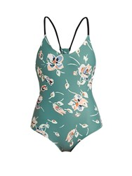 The Upside Daydream Deep Sea Floral Print Paddle Suit Green Print