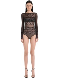Pierre Mantoux Gaia Paneled Sheer Lace And Tulle Bodysuit