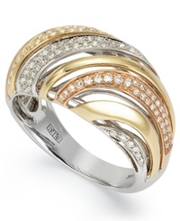 Effy Collection Trio By Effy Diamond Striped Dome Ring 3 8 Ct. T.W. In Tri Tone 14K Gold
