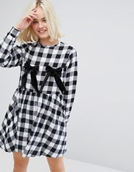 Lazy Oaf Long Sleeve Tea Dress With Bow Nips In Check Black White Multi
