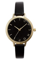 Topshop Women's Moon Face Leather Strap Watch 51Mm Gold