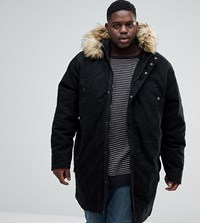 Jacamo Plus Parka With Fur Trim In Black