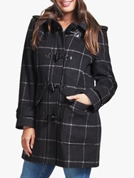 Four Seasons Check Duffle Coat Dark Blue