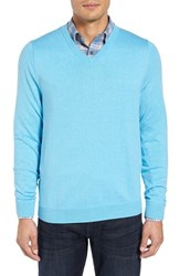 Nordstrom Men's Big And Tall Men's Shop Cotton And Cashmere V Neck Sweater Blue Aquarious Heather