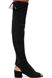 Sigerson Morrison Cutout Stretch Suede Over The Knee Boots Black