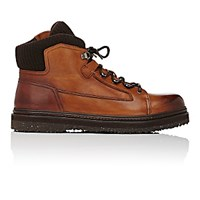 Ermenegildo Zegna Men's Rib Knit Detailed Hiking Boots Brown