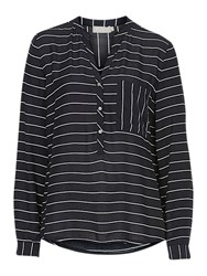 Betty And Co. Striped Blouse Dark Blue White