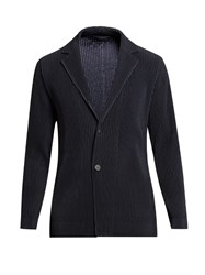 Homme Plisse Issey Miyake Two Button Pleated Blazer Navy