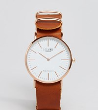 Reclaimed Vintage Inspired Leather Watch In Tan 36Mm Exclusive To Asos Tan
