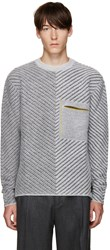 Fendi Grey Diagonal Knit Sweater