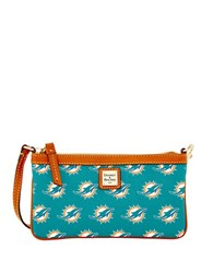Dooney And Bourke Miami Dolphins Slim Wristlet Turquoise Dolphins