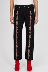 Opening Ceremony Oc Rework Gem Embroidered Raw Edge Jeans Black