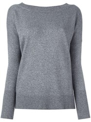 Giada Benincasa V Back Knitted Jumper Grey