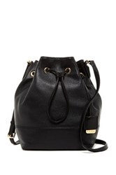 Kenneth Cole Nevins Drawstring Leather Bucket Bag Black
