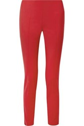 Akris Melissa Stretch Cotton Blend Slim Leg Pants Red