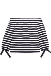 J.Crew Off The Shoulder Striped Cotton Jersey Top Midnight Blue