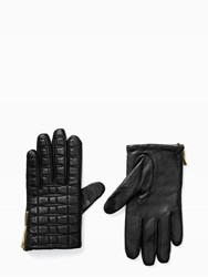 Kate Spade Bow Quilted Gloves With Side Zipper Black