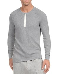 2Xist 2 X Ist Heritage Waffle Raglan Long Sleeve Henley Tee Light Grey Heather
