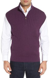 Robert Talbott Men's Cable Knit Quarter Zip Cotton Blend Sweater Vest Plum