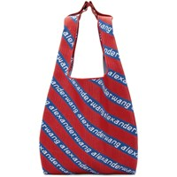 Alexander Wang Red And Blue Knit Jacquard Shopper Tote