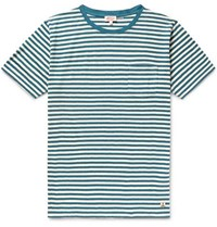 Armor Lux Striped Cotton And Linen Blend Jersey T Shirt Blue