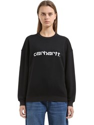 Carhartt Logo Embroidered Cotton Blend Sweatshirt Black