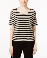 Eileen Fisher Striped Scoop Neck Sweater Natural Black