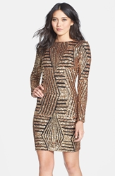 Dress The Population 'Lola' Sequin Body Con Dress Bronze
