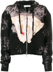 Faith Connexion Zipped Embroidered Hoodie Black