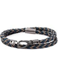 Tod's Braided Two Layer Bracelet Blue