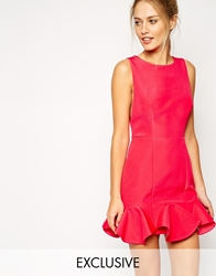 Finders Keepers Sail Away Dress With Peplum Frill Hem Paradisepink