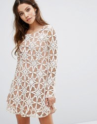 For Love And Lemons Party Dress In Lace Latte Cream